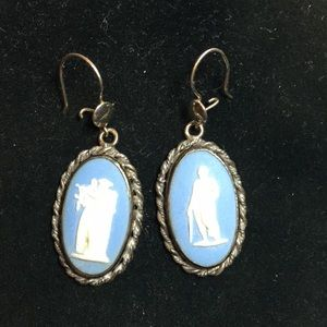 Vintage  Wedgwood sterling silver dangle earrings